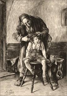 sw lavierte Federzeichnung: verängstigter Knabe beim Haarschneider - 1880