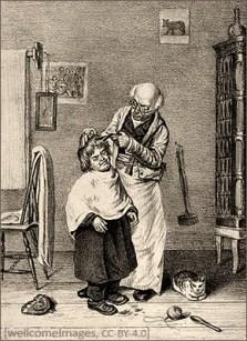 sw Litho: Ein Barbier schneidet eines Knaben Haar - 1890, England