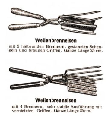sw Zeichnung: Wellenbrenneisen mit 2 bzw. 4 Brennern