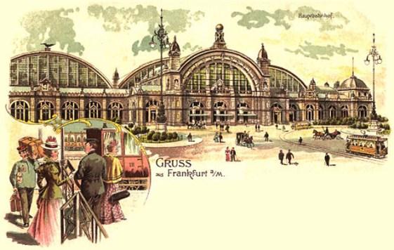 Farblitho-Postkarte: Träger und Reisende am Hauptbahnhof Frankfurt a.M. - 1901