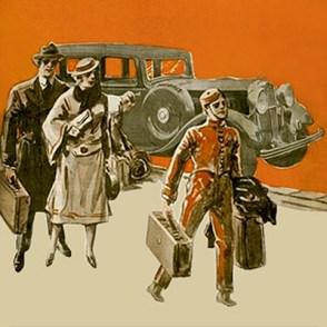 Farblitho: Page trägt Gepäck vom Auto ins Hotel