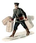 Farbillu: Träger mit 4 Gepäckstücken