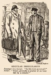 gezeichnete Karikatur + Text: Reisender erkundigt sich beim Gepäckmann