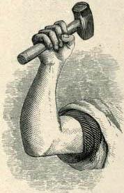 alte Zeichnung: Arm mit Hammer