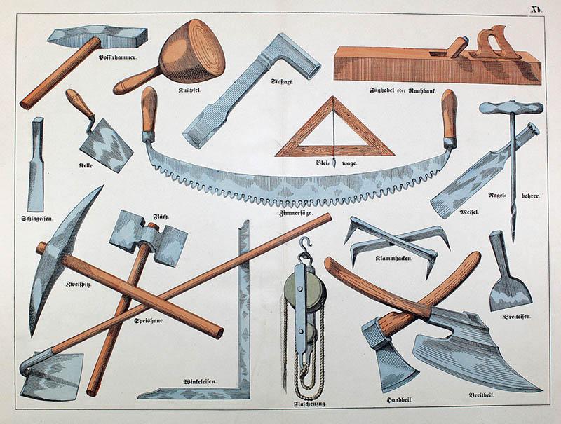 viele Werkzeuge der Bauarbeiter