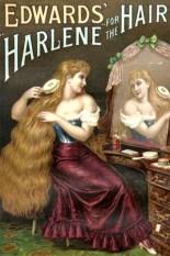 Farbwerbung für Harbürsten: vor Spiegel sitzende Frau bürstet ihr langes Haar - 1890, England