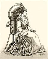 Zeichnung: große Apparatur zum Haare Trocknen - 1890, Italien