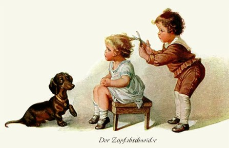 farbige KünstlerAK: kleiner Bube schneidet kleinem Mädel den Zopf ab - 1924