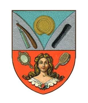 Wappen mit Rasiermesser, Rasierschale, Kamm, Handspiegel, Bürste + Perücke - 1900
