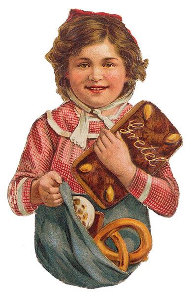 altes Oblatenbild: Mädchen mit Lebkuchen