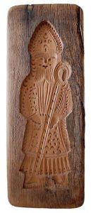 alte Holzform zum Lebkuchenbacken mit Kardinal als Motiv