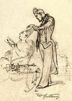 Bleistiftskizze: Friseur mit großer Haartolle kämmt langes Haar einer hochnäsigen Dame