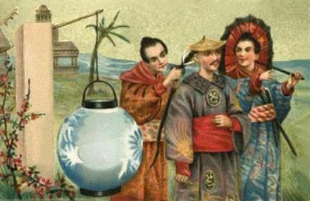 farbige Postkarte: Chinese schneidet im Vorbeigehen einem Mann den Nackenzopf ab - 1900