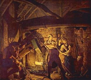 Gemälde: Familie zu Besuch in der Hammerschmiede - 1772