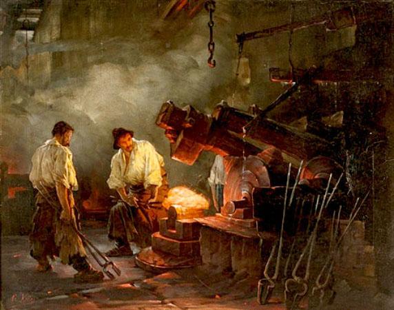 Gemälde: Männer Schmieden an großem Hammer Roheisen aus - 1900