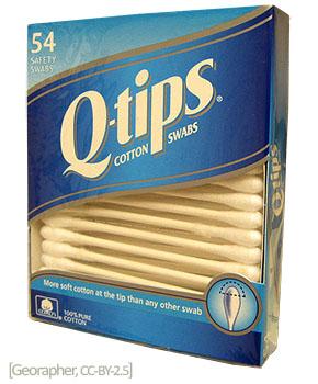 Farbfoto: amerikanische Q-Tips in Verpackung