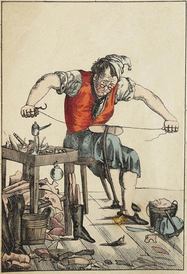 Schuster beim Näher des Leders eines Schuhs