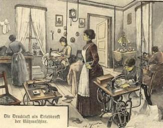 Holzstich: Frauen arbeiten an Nähmaschinen