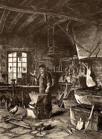 Federzeichnung: Schmied in seiner Werkstatt begutachtet einen Wetterhahn - 1882