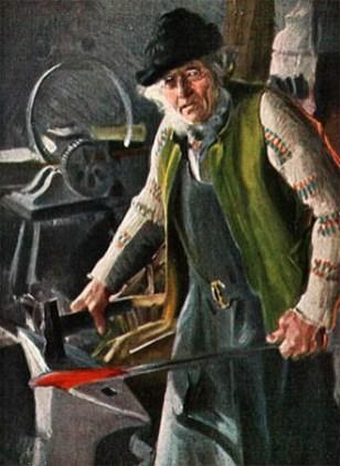 Kunstpostkarte: Schmied mit Strickjacke und Filzhut bei der Arbeit - 1911