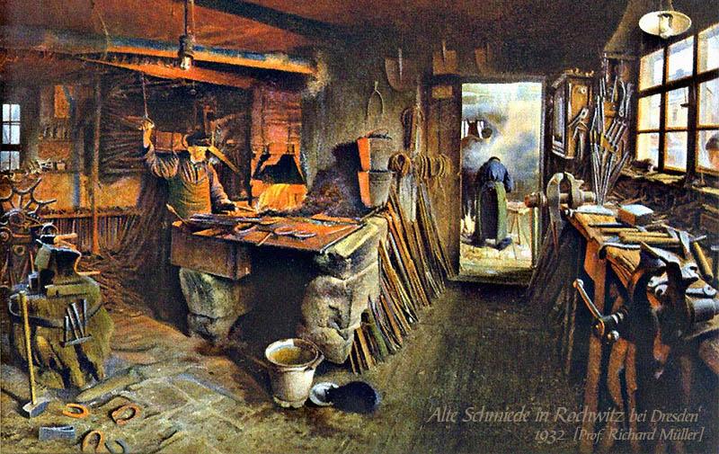 Gemälde: Einlick in eine Schmiedewerkstatt