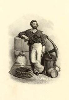 Zeichnung: Mann mit Pack und Seil und Anker