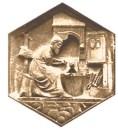 wabenförmiges Sandsteinrelief: am Amboss arbeitender Schmied - 13. Jh
