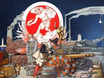 Farblitho: Allegorie mit Hephaistos, Schmieden und verschiedene ihrer Produkte