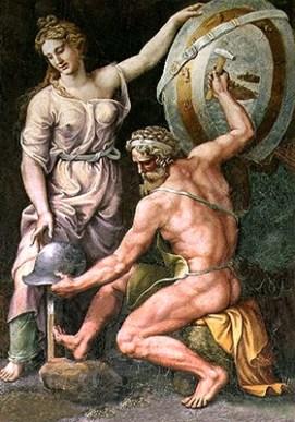 Gemälde: Thetis steht neben arbeitendem Hephaistos