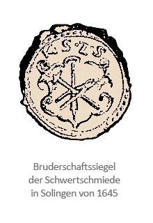 Siegelabdruck: in einem Wappen mittig ein Schwert gekreuzt von Hammer und Zange