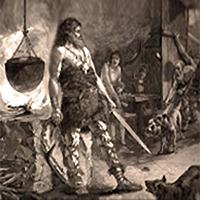 Litho: Schmied mit Schwert steht neben Herd