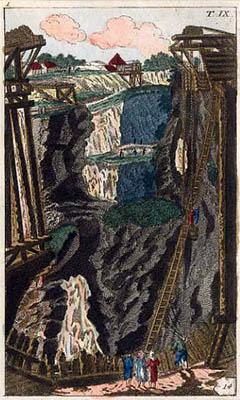 Farbzeichnung: Querschnitt Bergwerk