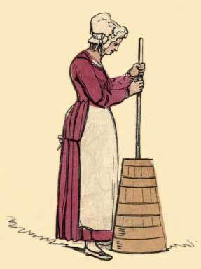 Zeichnung: Frau mit Haube stößt im Butterfass