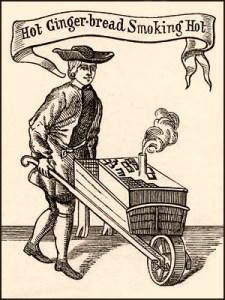 Holzschnitt: Ingwerbrotverkäufer unterwegs mit seiner aus einem kleinen Rauchrohr dampfenden Karre - 17. Jh