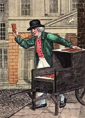 kolorierter Stich: Lebkuchenverkäufer mit seinem Karren auf der Straße - 1804