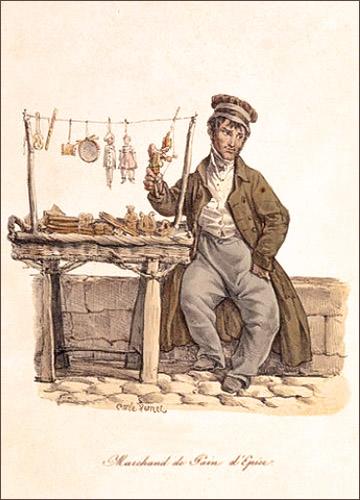 Farblitho: auf Mäuerchen sitzender Händler bietet Lebkuchen an - 1820, Frankreich