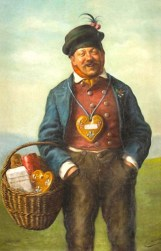 Gemälde: fröhlicher Mann mit umgehängten Lebkuchenherz und Henkelkorb mit Lebkuchen am Arm