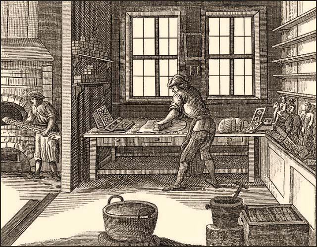 Kupferstich: Lebzelter füllt Formen, Gehilfe versorgt Ofen - 1782
