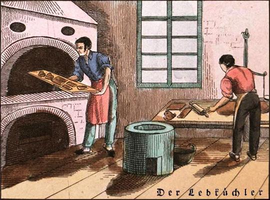 kolorierter Stich: ein Mann rollt Teig aus, ein anderer schiebt Lebkuchen in den Ofen - 1833