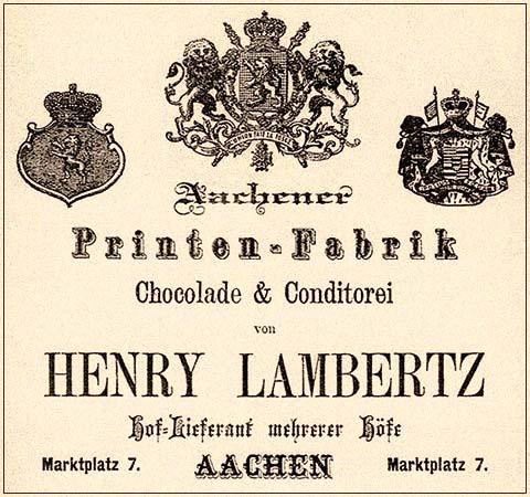 sw Druck: ' Aachener Printen-Fabrik von Henry Lambertz' - 1874, Aachen