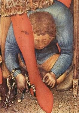 Gemälde: Mann paßt einem Adligen Sporen an - 1423