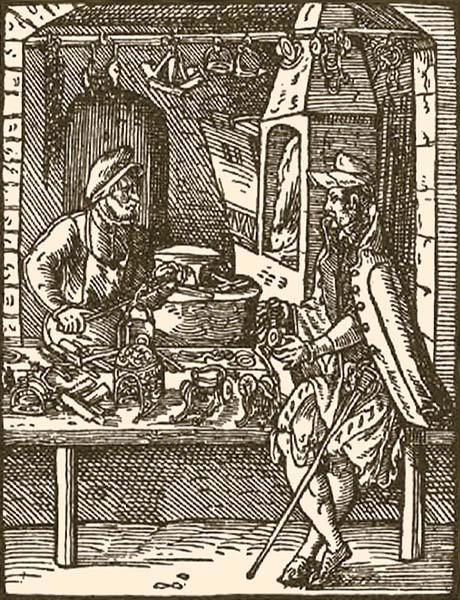 Holzschnitt: vornehmer Herr begutachtet Waren beim Sporer - 1568