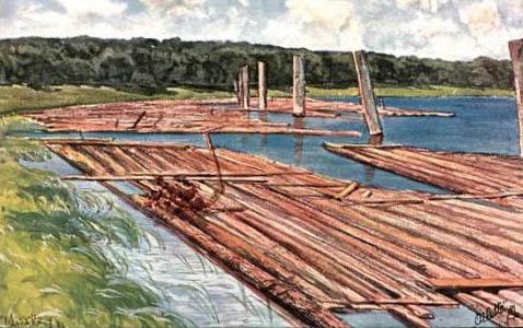 Gemälde: Flöße liegen bereit am Seeufer