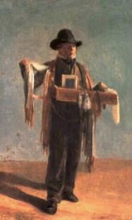 Gemälde: Schweizer mit Schaltüchern über Schulter und Kleinkram-Bauchladen - 1856