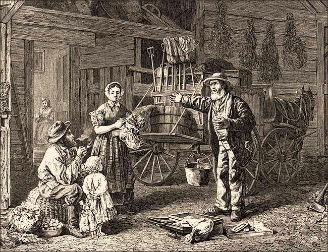 Holzstich: Reisehändler mit Pferdewagen zeigt Bauernfamilie seine Waren - 1868, USA