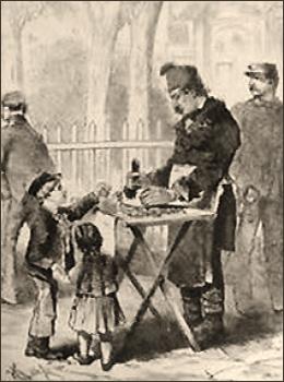 getuschte Zeichnung: Junge mit kleiner Schwester kauft Nougat - 1873, Österreich