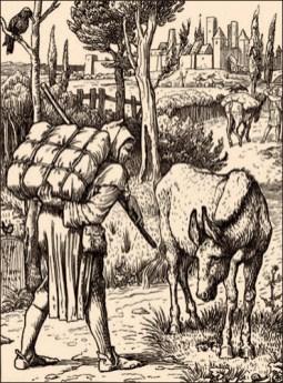 Holzschnitt: Esel wartet von Händler beladen zu werden -1886
