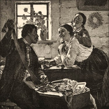 Holzstich: zwei Frauen verhandeln in Stube mit Bänder- und Schmuckkrämer über eine Brosche - 1888