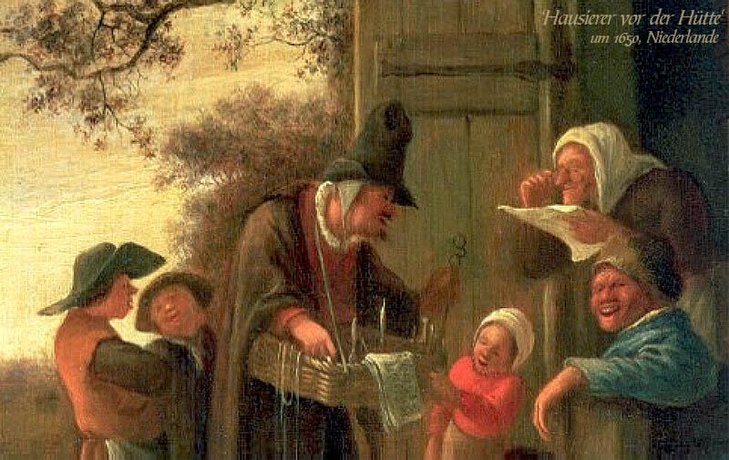 Gemälde: niederländischer Hausierer vor der Hütte