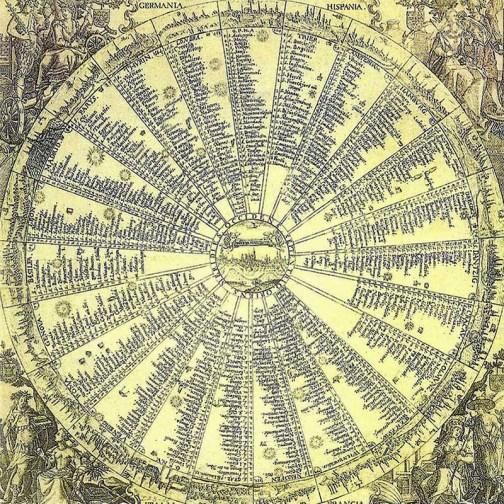 Kupferstich: 23 von Augsburg ausgehende im Kreis angeordnete Hauptpostlinien - 1629